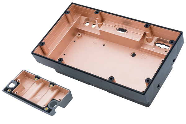 A typical example of a plastic hardened enclosure using MAJR Products conductive coatings.